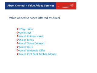 Aircel Mobile Value Added Services In India