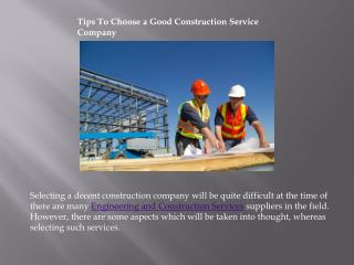 Tips To Choose a Good Construction Service Company