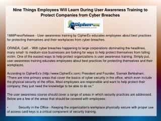 Nine Things Employees Will Learn During User Awareness