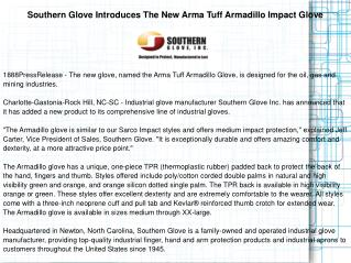 Southern Glove Introduces The New Arma Tuff Armadillo
