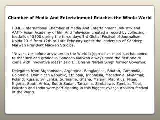 Chamber of Media And Entertainment Reaches the Whole World