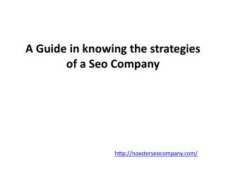 A Guide in knowing the strategies of a Seo Company