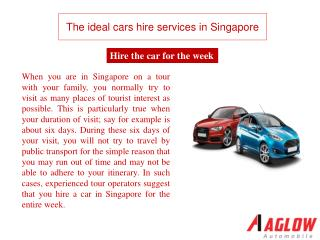 The ideal cars hire services in Singapore