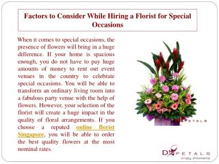 Factors to Consider While Hiring a Florist for Special Occas
