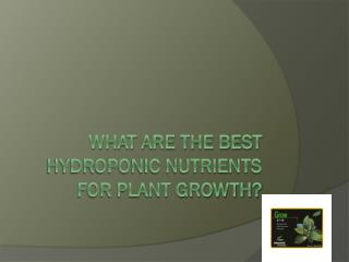 What Are The Best Hydroponic Nutrients For Plant Growth?