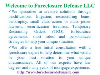 Foreclosure assistance, Foreclosure defense
