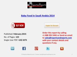 New Report On Baby Food Market in Saudi Arabia 2014