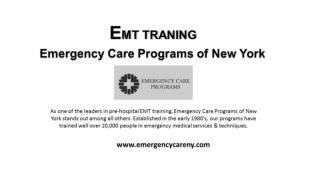 EMT Training By The Best Emergency Care Programs Of New York