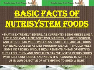 Basic facts Of Nutrisystem Foods