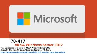 70-417 - MCSA Windows Server 2012 Study Classes
