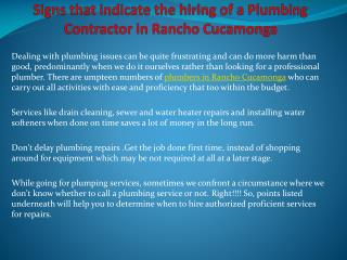 Signs that indicate the hiring of a Plumbing Contractor in R