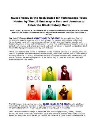 Sweet Honey in the Rock Slated for Performance Tours