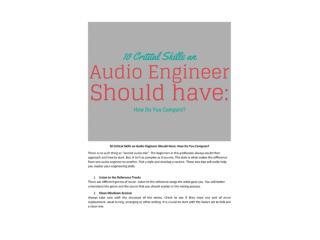 beat software - 10 Critical Skills an Audio Engineer Should