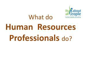What do HR professionals do