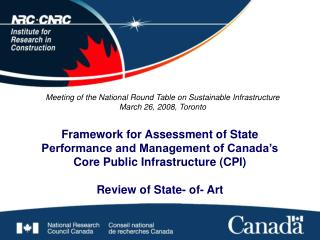 Framework for Assessment of State Performance and Management of Canada s Core Public Infrastructure CPI   Review of Stat