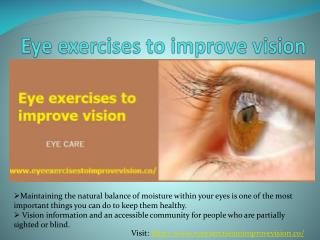 Eye exercises to improve vision naturally