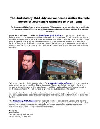 The Ambulatory M&A Advisor welcomes Walter Cronkite School o