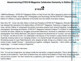 Award-winning EYES IN Magazine Celebrates Humanity