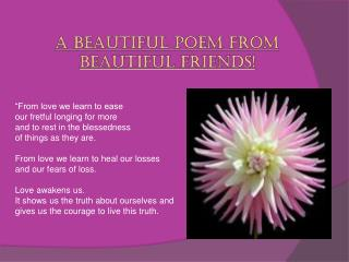 A beautiful poem from beautiful friends!