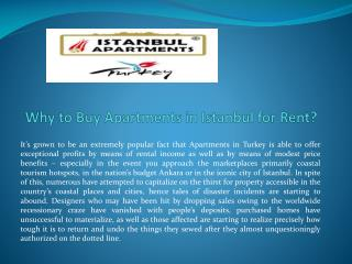 Why to Buy Apartments in Istanbul for Rent?