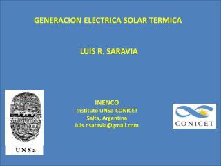 GENERACION ELECTRICA SOLAR TERMICA                                   LUIS R. SARAVIA