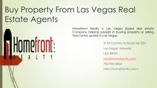 Buy Property From Las Vegas Real Estate Agents