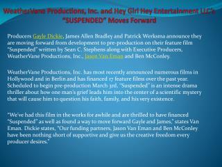 WeatherVane Productions, Inc. and Hey Girl Hey Entertainment