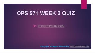 OPS 571 Week 2 Quiz Question Answers