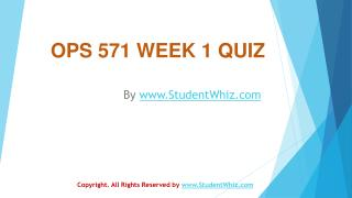 OPS 571 Week 1 Quiz Answers