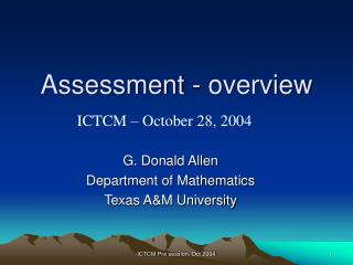 Assessment - overview
