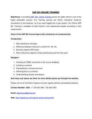 Online SAP BO Training