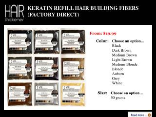 Keratin Refill Hair Building Fibers (Factory Direct) - Hair