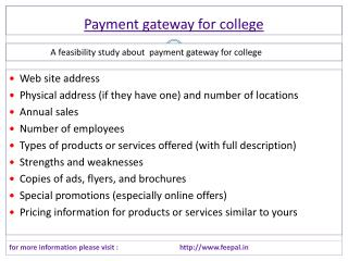 Full support information about Payment gateway for college