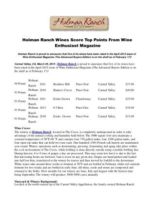 Holman Ranch Wines Score Top Points From Wine Enthusiast Mag
