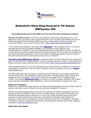Netswitch's Steve King Honored in 7th Annual MSPmentor 250