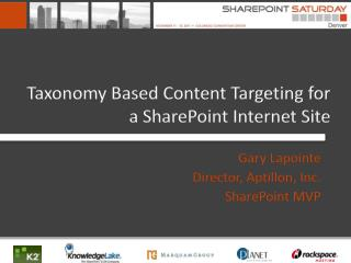 Taxonomy Based Content Targeting for a SharePoint Internet Site