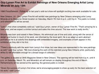 Guy Lyman Fine Art to Exhibit Paintings of New Orleans