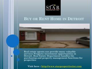 Buy or Rent Home in Detroit