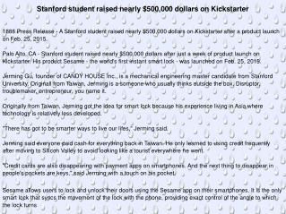 Stanford student raised nearly $500,000 dollars on Kickstart