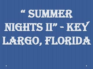 """"""" Summer Nights II"""" - Key Largo, Florida"""