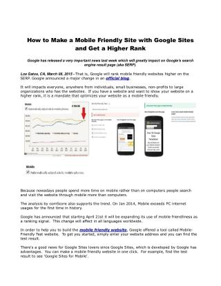 How to Make a Mobile Friendly Site with Google Sites and Get