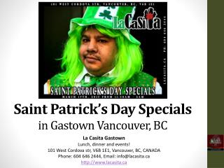 Saint Patricks Day Specials in Gastown Vancouver BC