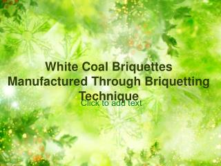 White Coal Briquettes Manufactured Through Briquetting Techn