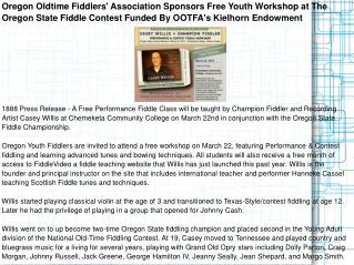 Oregon Oldtime Fiddlers' Association Sponsors Free Youth Wor