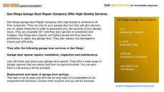 San Diego Garage Door Repair Company Offer High Quality Serv