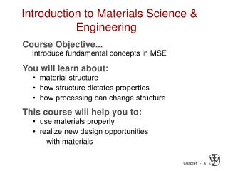 Introduction to Materials Science  Engineering