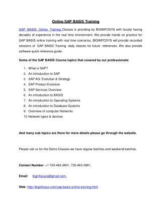 Online SAP BASIS Training