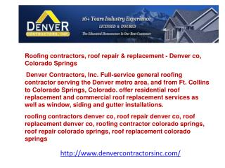 Roofing contractors, roof repair & replacement - Denver co,