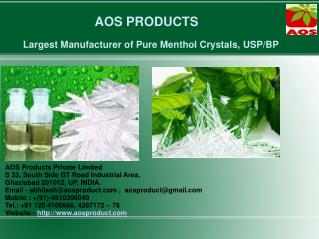 Pure Natural Menthol Crystals, Menthol Crystal USP/BP/IP