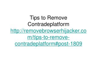Tips to Remove Contradeplatform